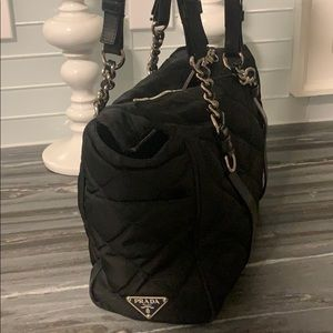 Vintage Prada quilted chain tote